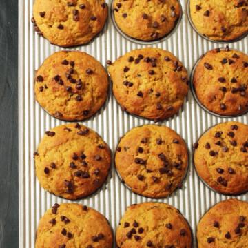 Pumpkin Chocolate Chip Muffins in baking pan