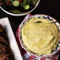 alfredo mashed potatoes pot roast and salad