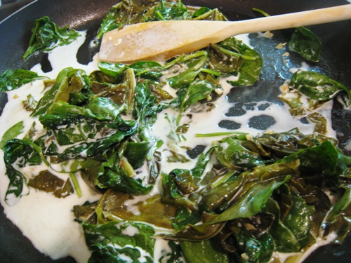 Sorrel and Spinach in skillet