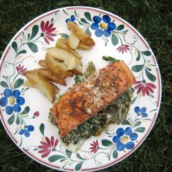 A plate of salmon, sorrel, and potatoes