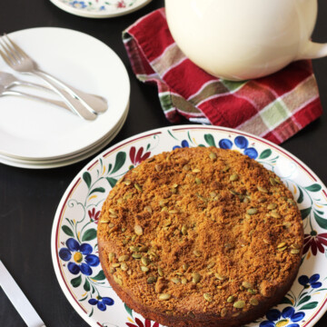 Pumpkin Coffeecake on a platter with plates and forks