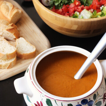 roast vegetable soup in a tureen with a ladle