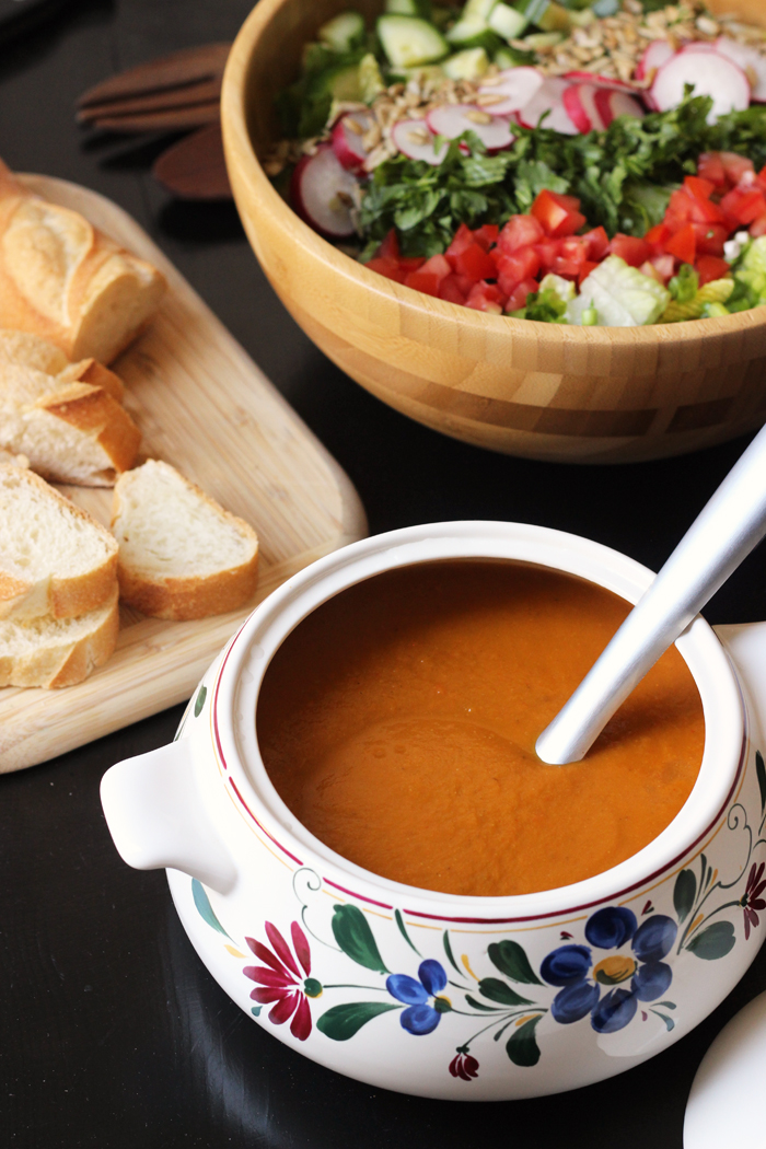 crock of tomato soup and a salad