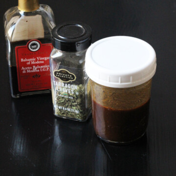 jars of tarragon, balsamic, and dressing
