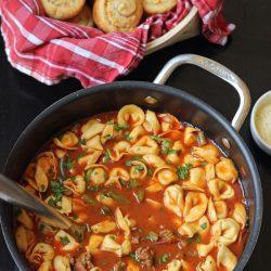 A pot of tortellini soup