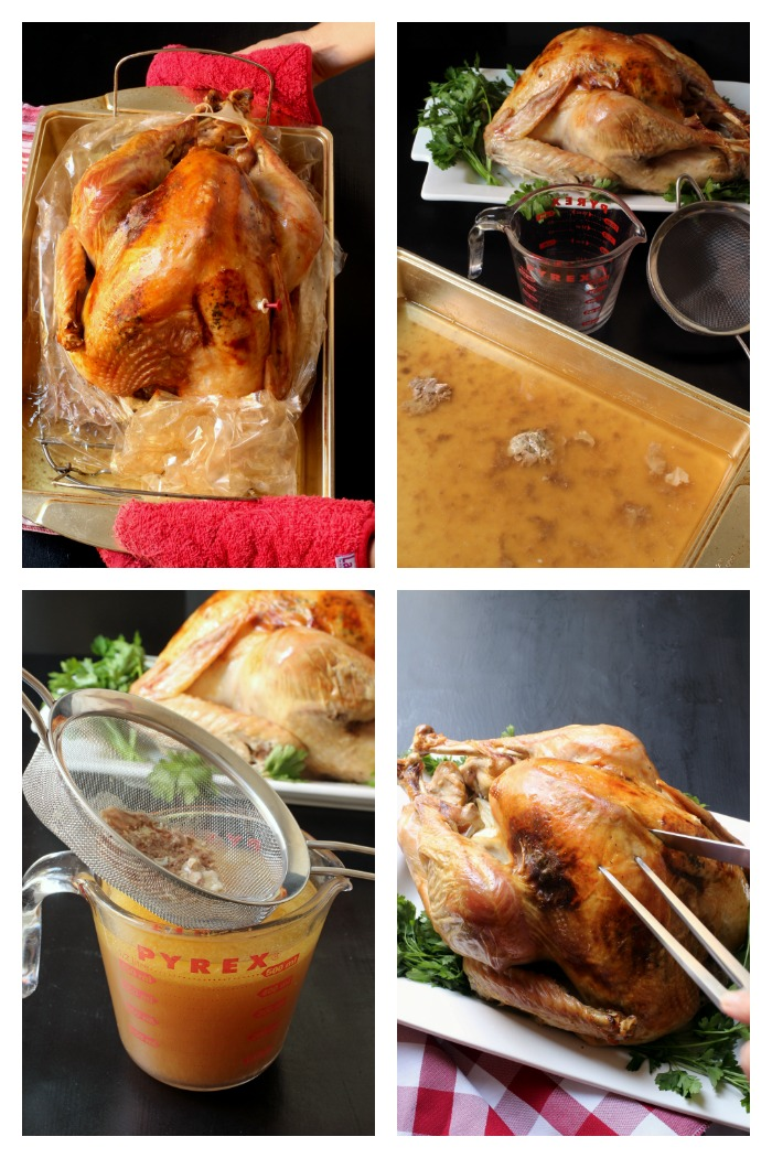 step-by-step photos of removing turkey from pan and draining drippings