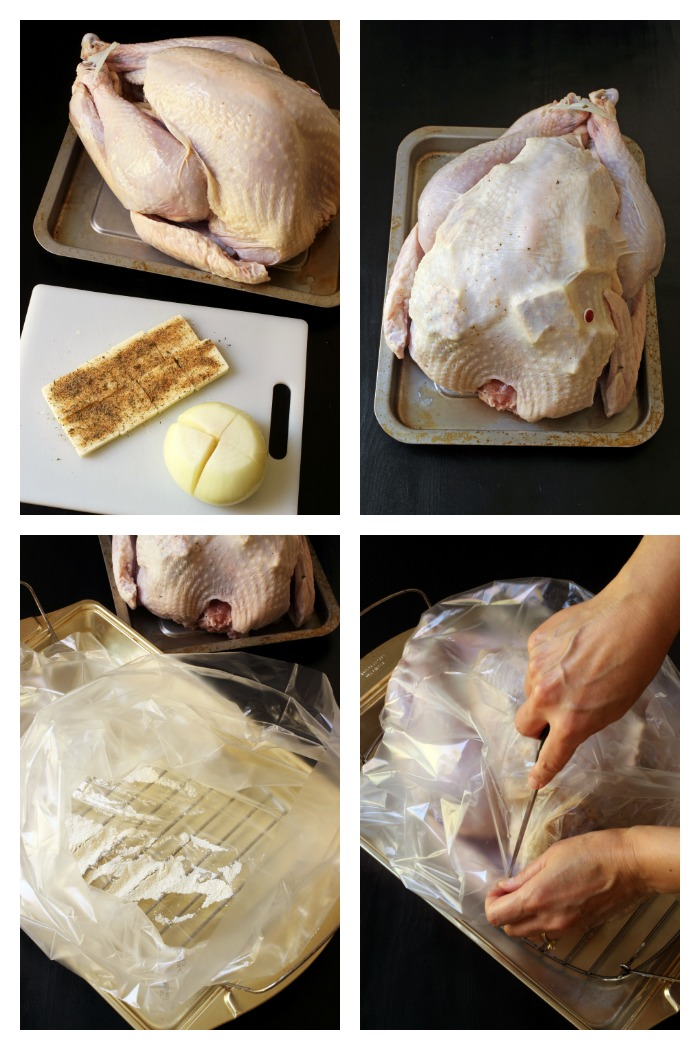 step-by-step photos for prepping the turkey