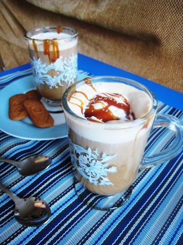 salted caramel affogatos on table