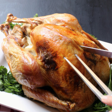 carving the roast turkey