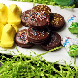 easter platter of peeps oreos and chocolate lambs