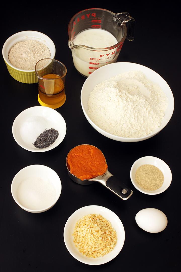 ingredients for pumpkin dinner rolls