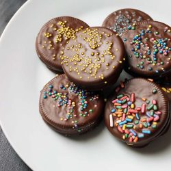 plate of chocolate dipped oreos