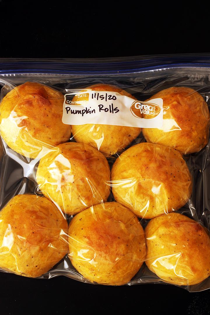 pumpkin rolls in freezer bag