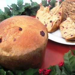 Cranberry Christmas bread on red table