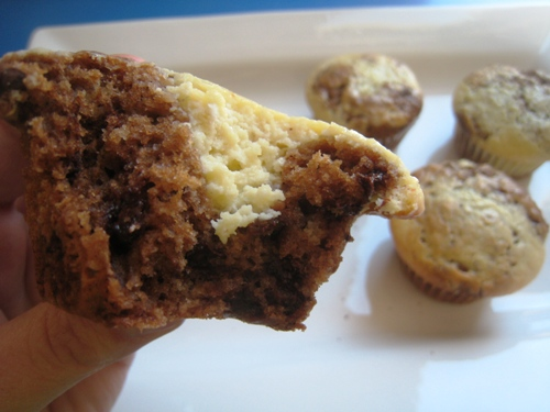 A close up of a Chocolate Cheesecake Muffin
