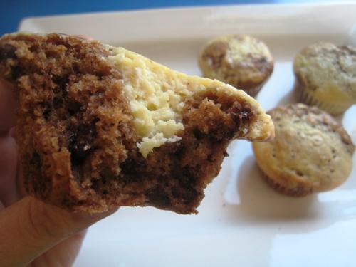 chocolate cheesecake muffin cut in half