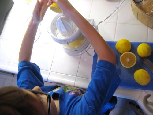 boy juicing lemons