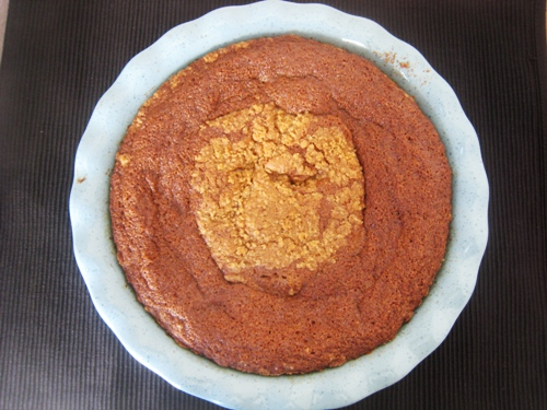 A close up of coffeecake that didn\'t go well