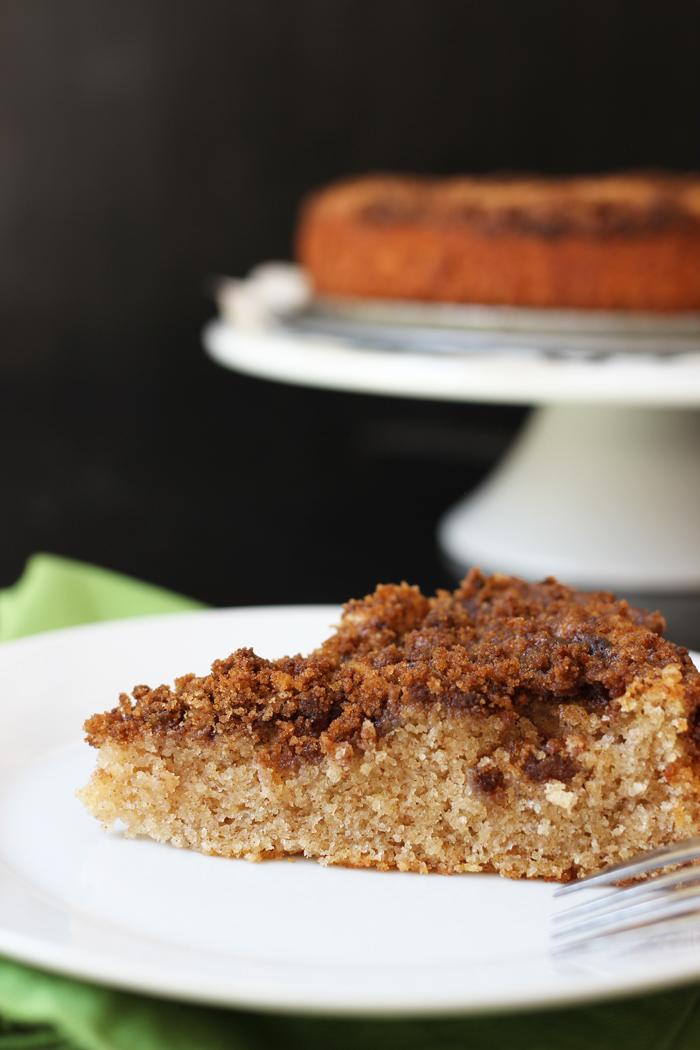 A piece of streusel coffeecake on a plate