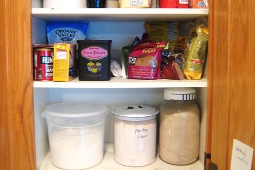 baking ingredients in pantry