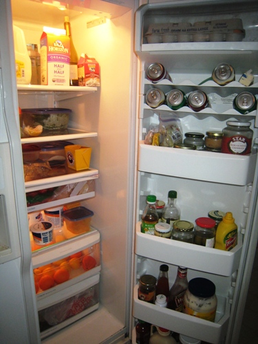 A wide open refrigerator