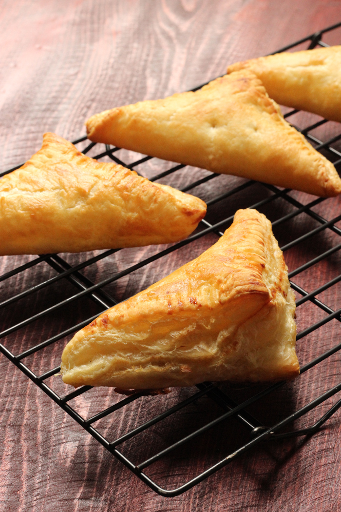 A close up of apple turnovers