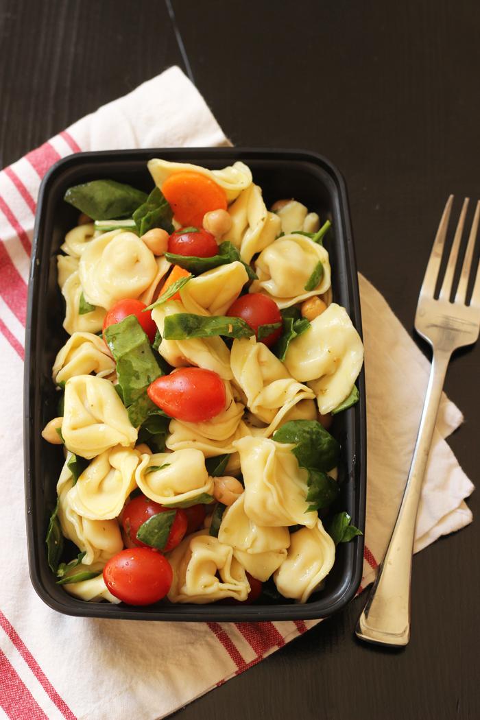 meal prep box with tortellini pasta salad