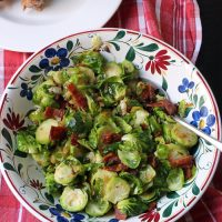 A bowl of brussels sprouts on table