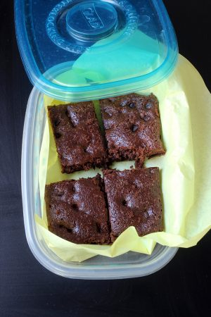 brownies boxed up for freezing