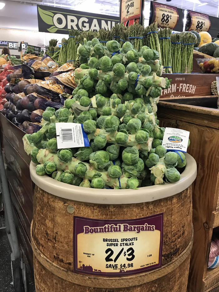 brussels sprouts on stalks at grocery store