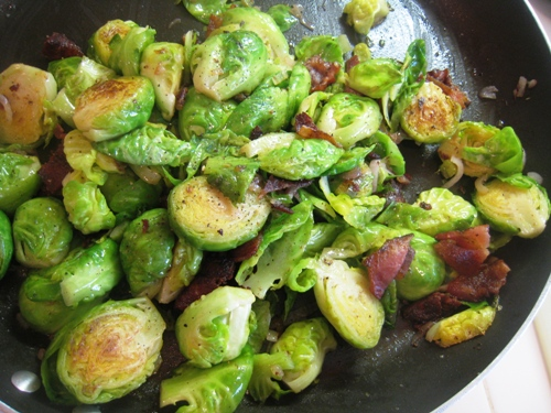 Sauteed Brussels Sprouts with Bacon and Shallots