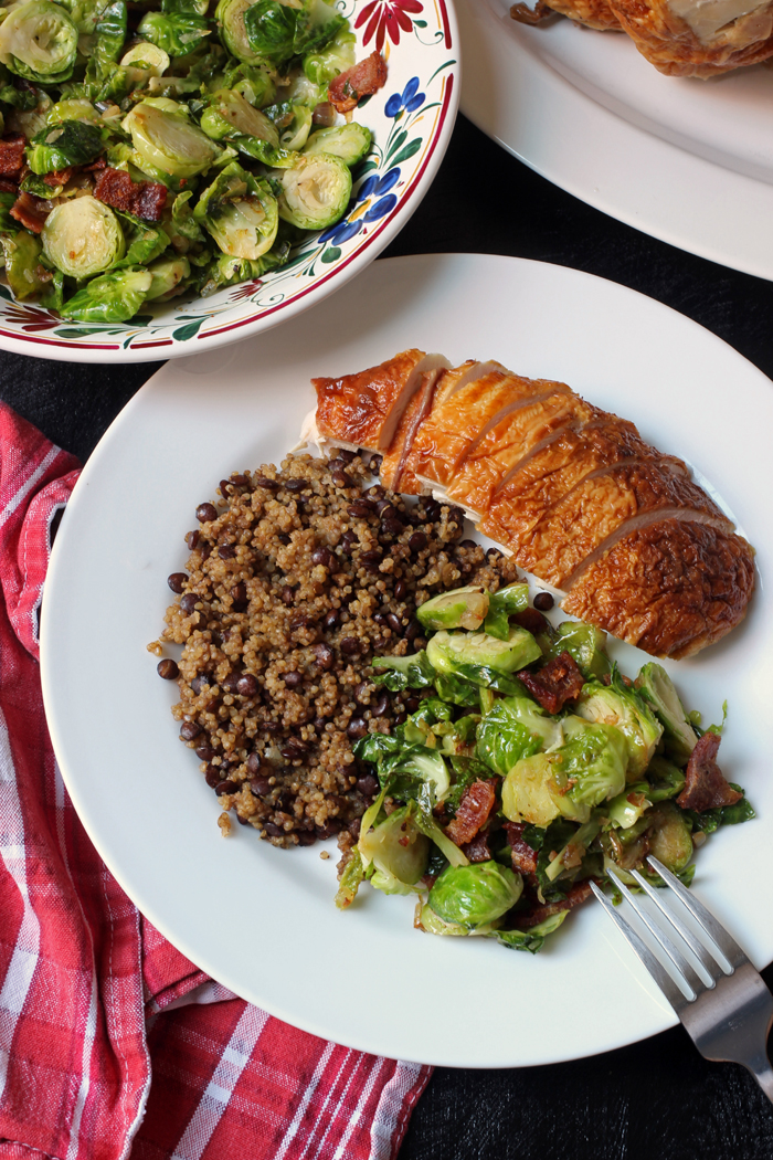 dinner table with sprouts, quinoa, and chicken