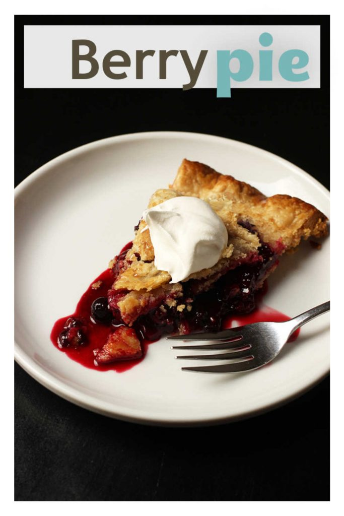 A piece of berry pie on a plate