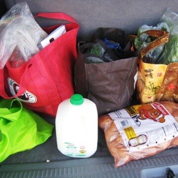 bags of groceries in car