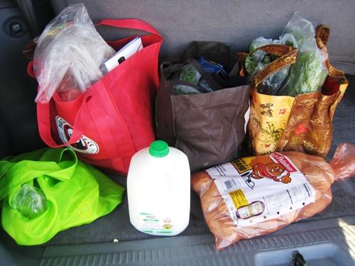 bags of groceries in back of car