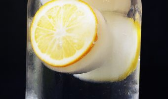 jar of water with lemon ice cubes