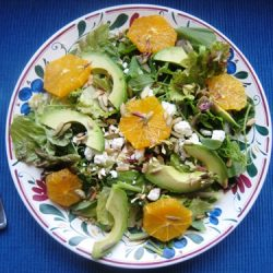orange and avocado salad on a plate