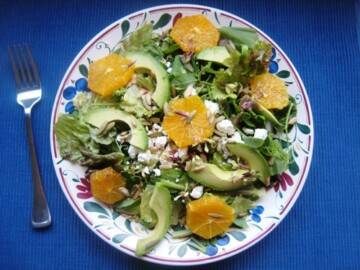orange and avocado salad on a plate