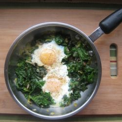 Eat Your Spinach (Recipe: Skillet-Poached Eggs with Spinach, Pea Tendrils, and Leeks)