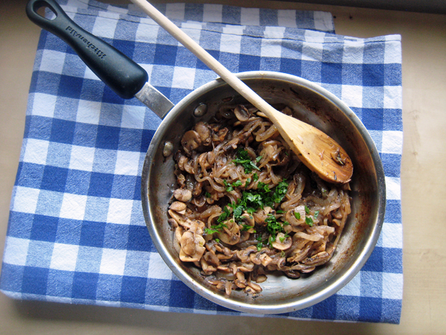Sauteed Mushrooms and Onions in a saucepan