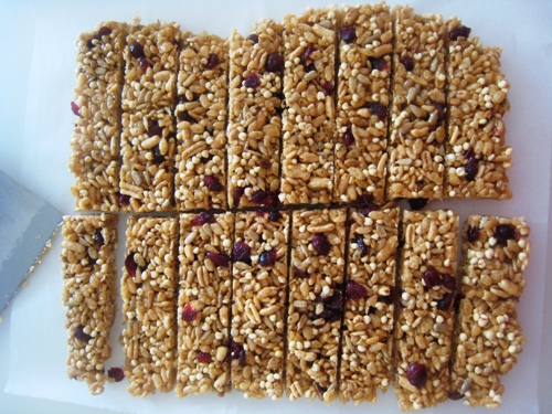 A close up of homemade granola bars