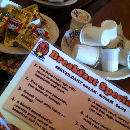A breakfast menu on a table