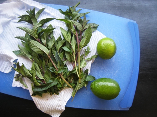 limes and mint on cutting board