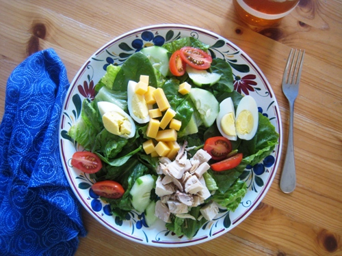 chef's salad with garlicky anchovy vinaigrette