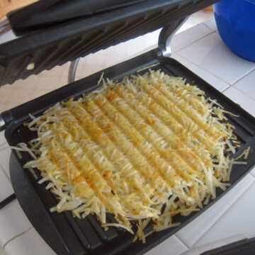 Hash browns on a panini press