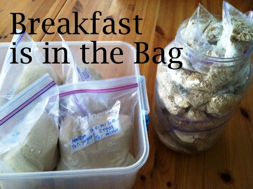 breakfast bags in containers on table