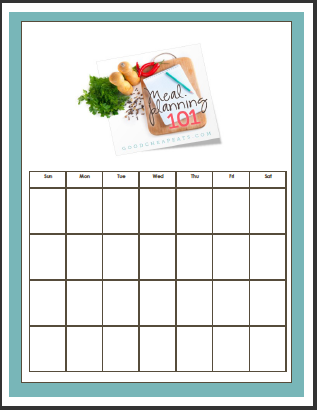 screen shot of meal plan calendar