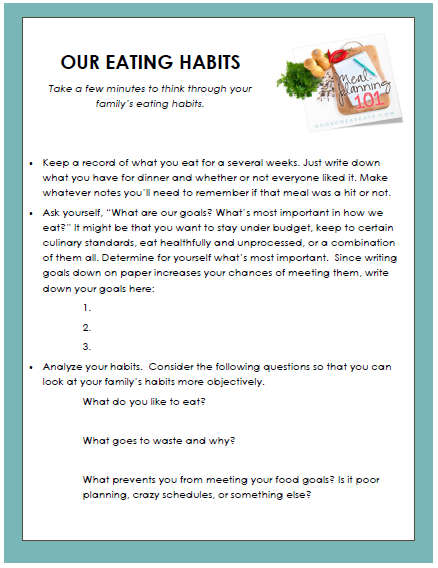 worksheet for determining eating habits