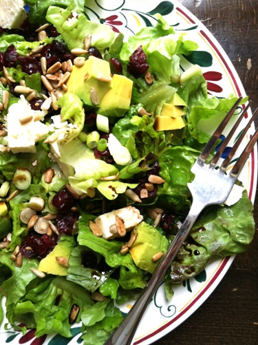 plate of salad with avocado