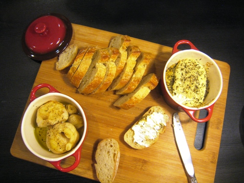 Roasted Garlic and Baked Goat Cheese Appetizer